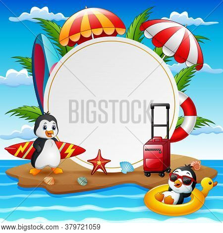 Summer Vacation Background With Penguins On Island