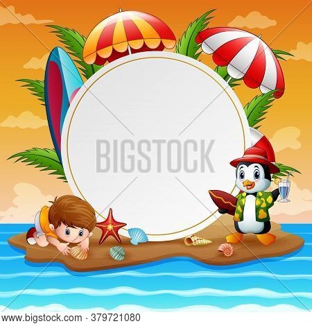 Summer Holidays With Boy And Penguin On Island