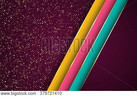 Gold Halftone Dots And Inclined Ribbon Stripes Banner Vector Design. Chic Banner Background Template