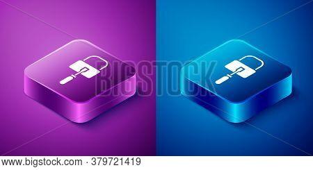 Isometric Lockpicks Or Lock Picks For Lock Picking Icon Isolated On Blue And Purple Background. Squa