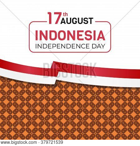 17 August, Indonesia Independence Day. With Batik Motifs. Vector Illustration