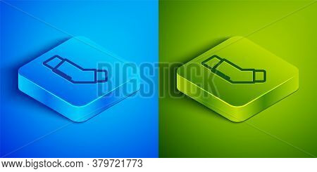 Isometric Line Inhaler Icon Isolated On Blue And Green Background. Breather For Cough Relief, Inhala