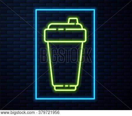 Glowing Neon Line Fitness Shaker Icon Isolated On Brick Wall Background. Sports Shaker Bottle With L