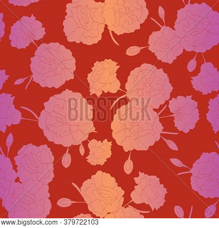 Vector Carnation Flowers Silhouettes In Pink Orange Ombre Scattered On Red Background Seamless Repea