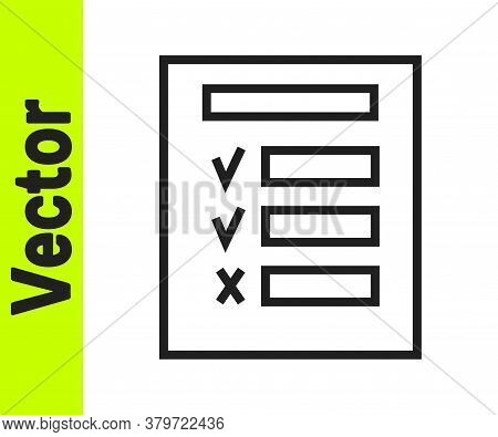 Black Line Car Inspection Icon Isolated On White Background. Car Service. Vector Illustration
