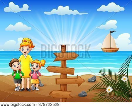 Happy Family Walking On The Beach Illustration