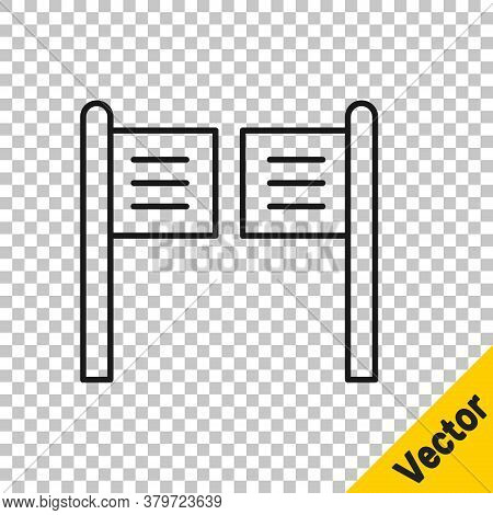 Black Line Old Western Swinging Saloon Door Icon Isolated On Transparent Background. Vector Illustra