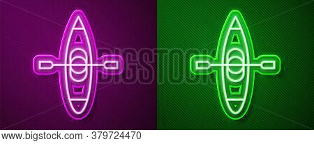 Glowing Neon Line Kayak And Paddle Icon Isolated On Purple And Green Background. Kayak And Canoe For