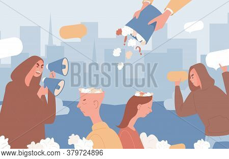 Fake News Vector Flat Illustration. People With Loudspeakers And Speech Bubbles Filling Man And Woma
