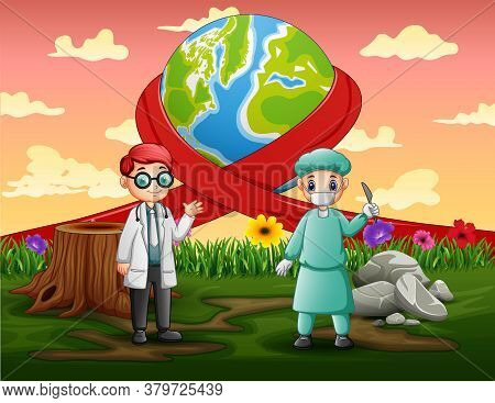 Happy World Day With Two Doctors Standing