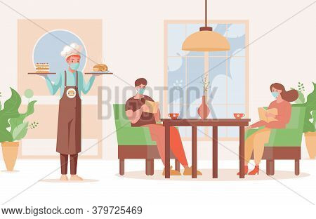 People In Restaurant Vector Flat Illustration. Waiter In Mask And Gloves Hold Plates With Cake And F