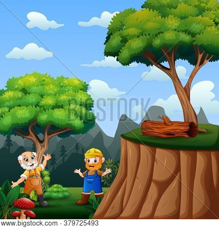 Two Working Man At The Forest Illustration