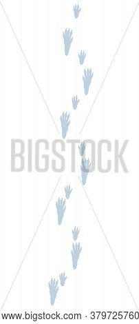 Rat Tracks In Snow. Typical Footprints Of Rattus. Isolated Icon Vector Illustration On White Backgro
