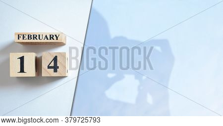 February 14, Shadow Of Photographer With Number Cube.