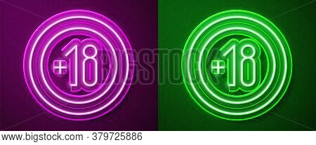 Glowing Neon Line Alcohol 18 Plus Icon Isolated On Purple And Green Background. Prohibiting Alcohol