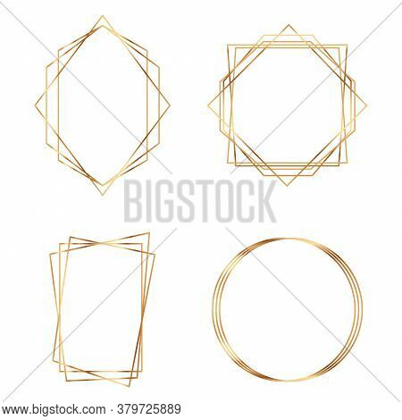 Golden Geometric Frames. Geometrical Polyhedron. Modern Abstract Elements.