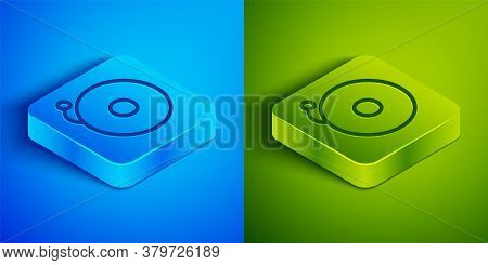 Isometric Line Ringing Alarm Bell Icon Isolated On Blue And Green Background. Alarm Symbol, Service