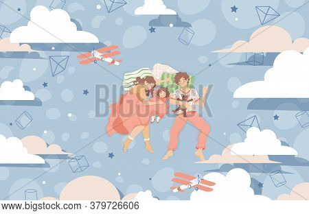 Family Sleep Together On The Bed And Dreaming Vector Flat Illustration. Mother, Father And Daughter