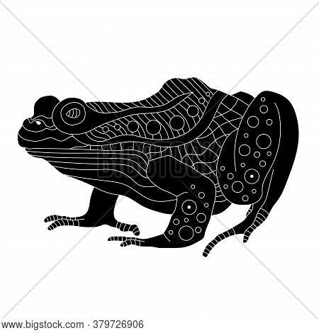 Black Silhouette Of A Frog In A Decorative Style With Patterns. The Shadow Of A Fat Toad On A White