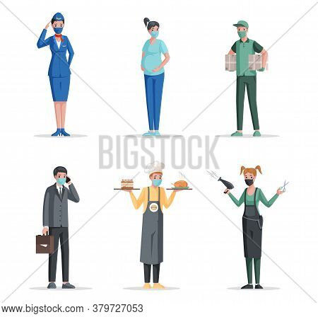 Group Of People Of Different Professions In Medical Mask Vector Flat Concept. Airport And Airline Wo