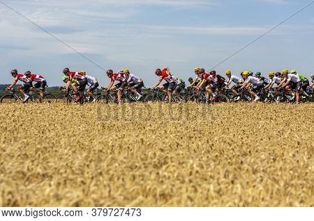 Vendeuvre-sur-barse, France - 6 July, 2017: Team Lotto-soudal Rides In The Peloton Through A Region