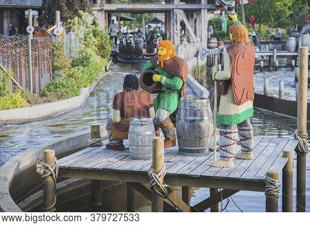 Billund, Denmark, July 2018: Vikings Made From Constructor In A Water Attraction In Legoland
