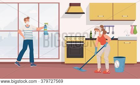 Young Couple In Protective Masks Cleaning Apartments Vector Flat Illustration. Man And Woman Disinfe