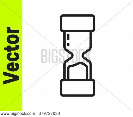 Black Line Old Hourglass With Flowing Sand Icon Isolated On White Background. Sand Clock Sign. Busin