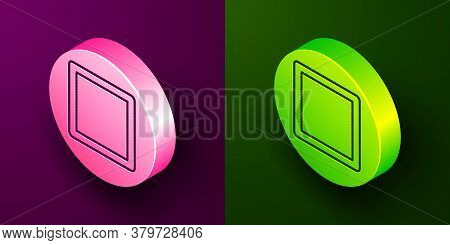 Isometric Line Sewing Pattern Icon Isolated On Purple And Green Background. Markings For Sewing. Cir