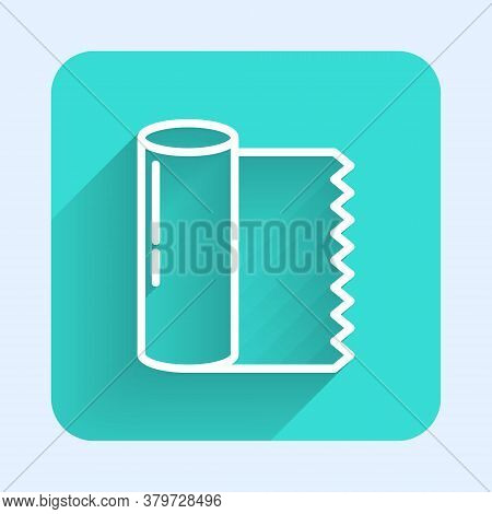 White Line Textile Fabric Roll Icon Isolated With Long Shadow. Roll, Mat, Rug, Cloth, Carpet Or Pape