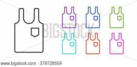 Black Line Sleeveless T-shirt Icon Isolated On White Background. Set Icons Colorful. Vector Illustra