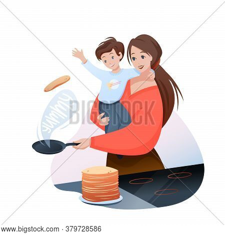 Mother Time With Son Concept Vector Illustration. Cartoon Flat Pretty Mom Character Making Family Br