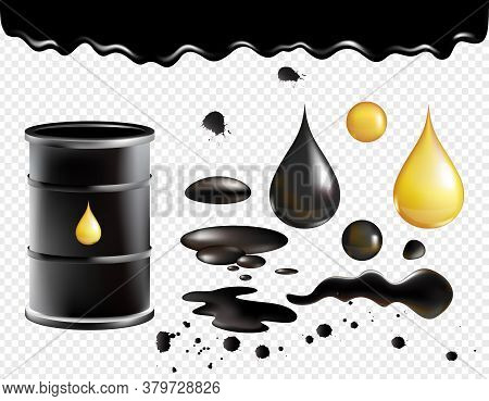 Petrol Symbols Vector Illustration Set. Oil Black Realistic Glossy Dropping Fluid, Black Metal Barre