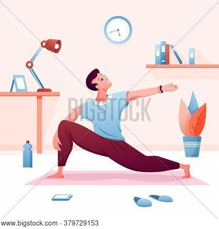 Home Yoga Flat Vector Illustration. Cartoon Young Man Character Practicing Calm Yogi Asana, Doing Sp