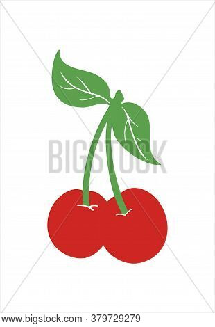 Cherry Vector Illustration. Couple Of Ripe Cherries In Flat Style