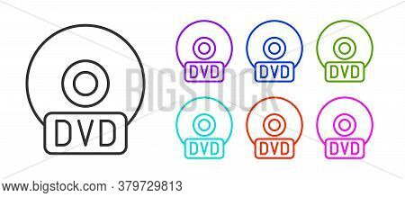 Black Line Cd Or Dvd Disk Icon Isolated On White Background. Compact Disc Sign. Set Icons Colorful.