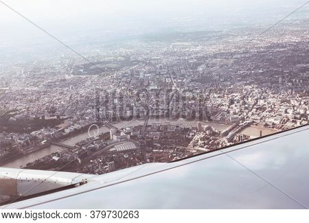 London rooftop view panorama from aircraft