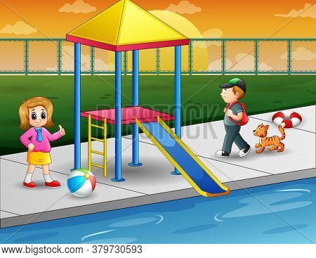 Children Playing In Outdoor Swimming Pool Illustration