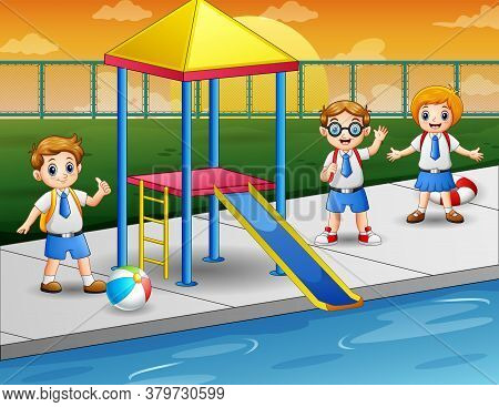 Cartoon Illustration Of Happy Kids In A Swimming Pool