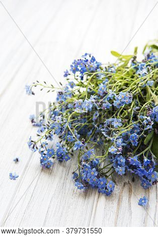 Forget-me-not Flowers   On A White  Wooden Background