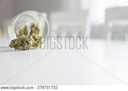 Cannabis Buds In Grinder. The Sugar Pot Leaves On Buds. White Background. Cbd Thc Herb. Sativa Medic