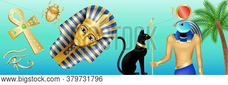 Egypt Symbols Banner. Cartoon Poster With Pharaoh, Horus, Black Cat And Scarab On Blue Background. V