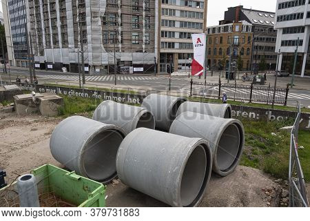 Antwerp, Belgium, July 19, 2020, Concrete Sewer Pipes For The Reconstruction Of The Scheldt Quays