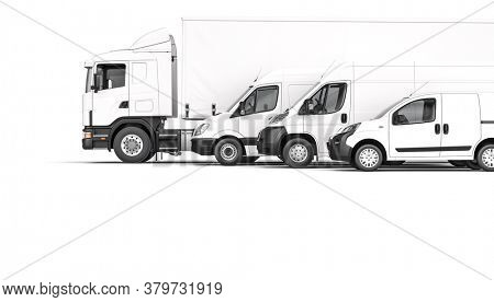 different cargo means of transport on a white background. 3d render. shipping and logistics concept.