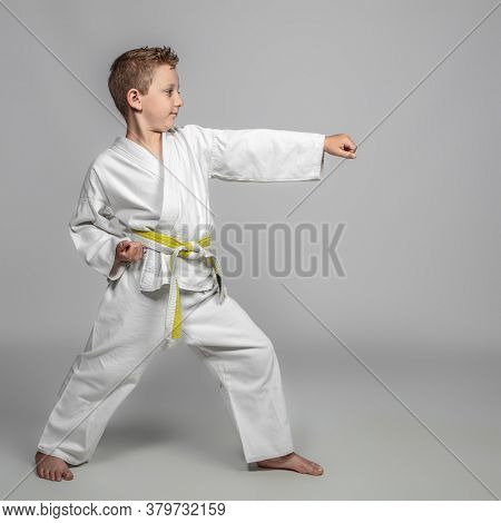 child practicing martial arts intent on performing a kata. youth sport concept.
