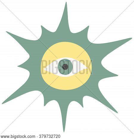 Sun And Eye. Magic Symbol Of Clairvoyance. Vector Illustration. Isolated White Background. Boho Styl