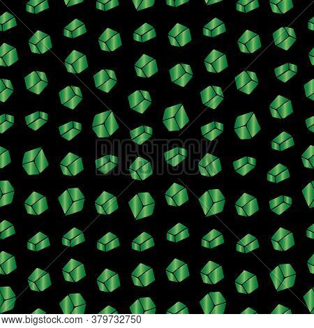 Emerald. Crystals. Seamless Crystal Ornament. Repeating Vector Pattern. Outline On An Isolated Black