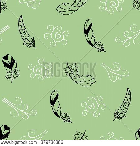 Vector Green With Feathers And Swirls From The Feather Flight Collection Seamless Pattern Background
