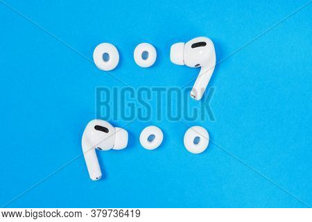 Rostov, Russia - July 06, 2020: Wireless Headphones Apple Airpods Pro, Open Case And Soft, Flexible