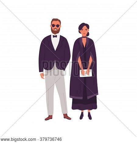 Couple In Trendy Evening Clothes Standing Together Vector Flat Illustration. Stylish Man And Woman R